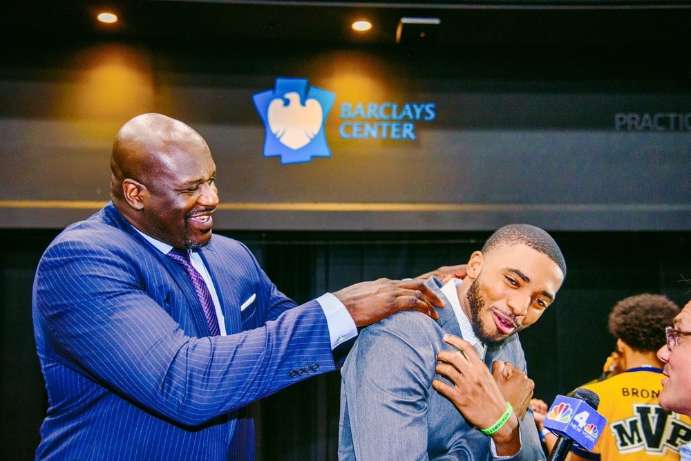 Shaquille O'Neal, Marvin Bagley III, Jaren Jackson Jr. and Mikal Bridges at JCPenney to surprise deserving young men from the YMCA and host a motivating day of mentorship.