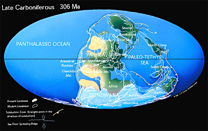 A map produced by Chris Scotese, http://www.scotese.com/late.htm , showing the configuration of the earth's continents during the Pennsylvanian period.
