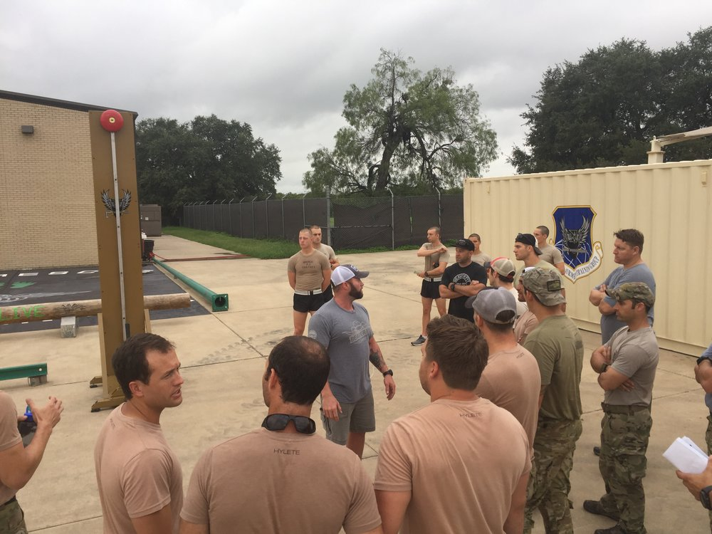 Benni leads a group of PJ Airmen through the PJ Rodeo obstacles
