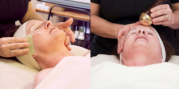 Gua Sha, featured on left, and Kansa, on the right, are two result-positive treatments that employ skillful massage techniques on specific areas to reduce tension and improve skin elasticity.