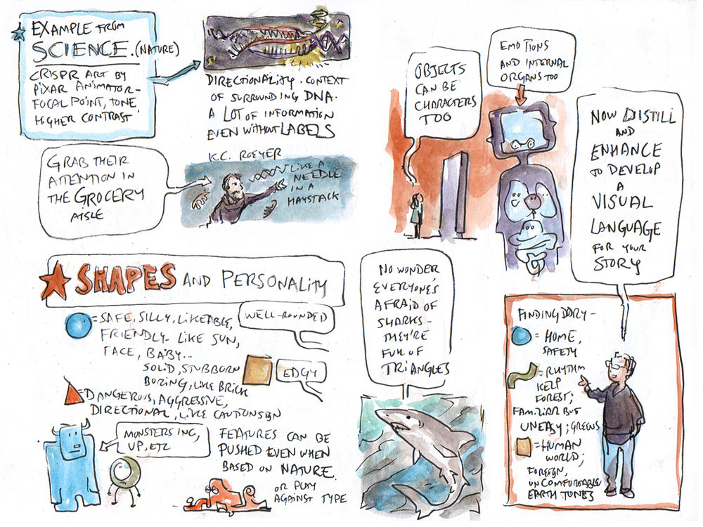 Page 2 of sketch notes by  Mark Simmons  from the 2018 workshop at UC Berkeley on visual storytelling for science communication, presented by ElShafie with Character Art Director Matt Nolte and Production Designer Steve Pilcher, with contributions by K.C. Roeyer, of Pixar Animation Studios. Sketch notes courtesy of Mark Simmons. Pixar content © Disney/Pixar, used here with permission.
