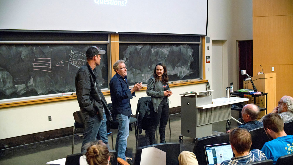 Joined by Character Art Director Matt Nolte (left) and Production Designer Steve Pilcher (center) from Pixar Animation Studios, ElShafie (right) presented a workshop on visual storytelling for science communication at UC Berkeley in March 2018 for an audience of over 250 participants. Photo courtesy of Helina Chin, UC Museum of Paleontology.