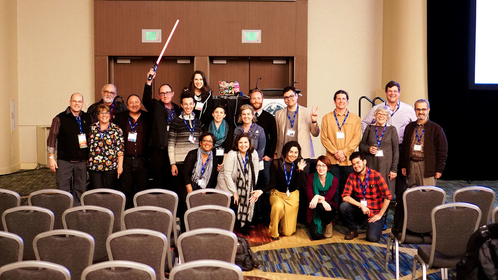 """Presenters and contributors of the """"Science Through Narrative: Engaging Broad Audiences"""" symposium at the 2018 Annual SICB Meeting in San Francisco, CA."""