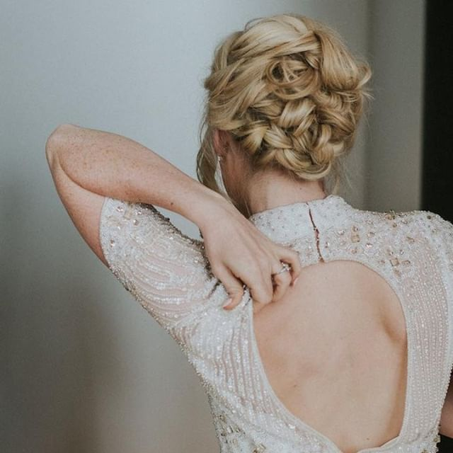 BEADED BEAUTY // Not sure what I love more about this image, the stunning beadwork on my brides gown - or her gorgeous, soft, weaved updo. Loved creating this style! Featured last week ok @lovemydress. ... Hair by me Dress: @vickyrowebridal Photo @weheartpictures .. #weddinginspiration #weddingdress #bridalhair #weddingideas #updo #bride #weddinghair #bridalmakeup #bridal #engaged #bridalstyle #hairstylist #ido #bridalhair #weddinghairstylist #bridalhairstylist  #bridetobe #weddinggown #weddinginspo #bridalfashion #weddingstyle #weddingfashion #theknot #weddingdresses #lovemydress