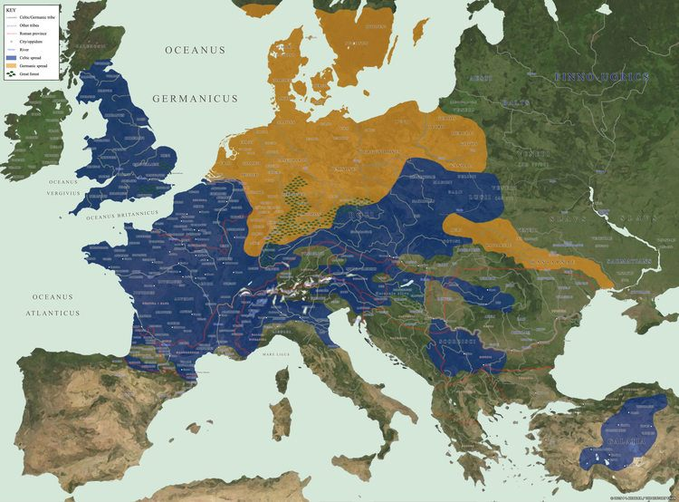 Celtic and Germanic tribes circa 52 BCE