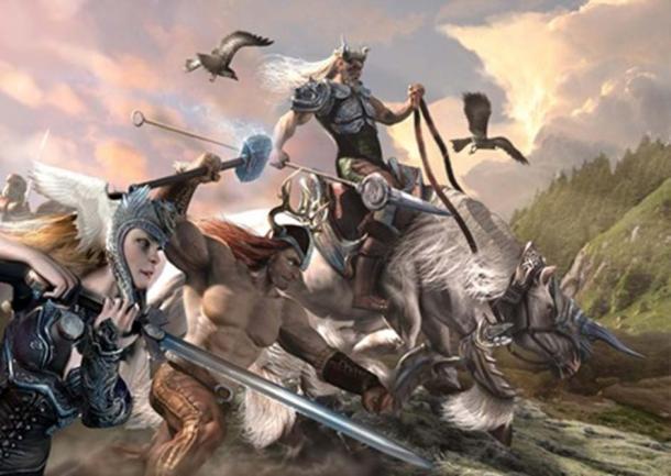 Germanic Gods Wodan, Thor, and Frijar