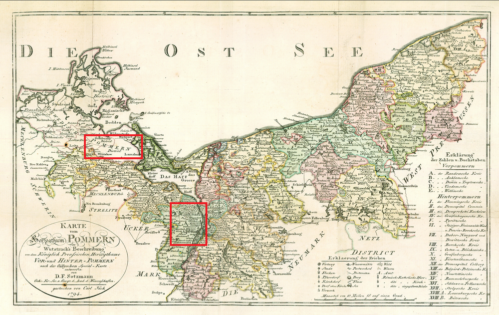 Red highlights Pommern (top) and the area where my mother's maternal great-grandparents' families come from.