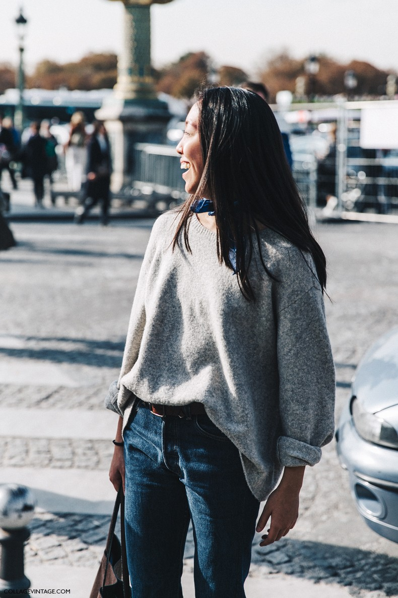 PFW-Paris_Fashion_Week-Spring_Summer_2016-Street_Style-Say_Cheese-Grey_Jumper-Bandana-Jeans--790x1185