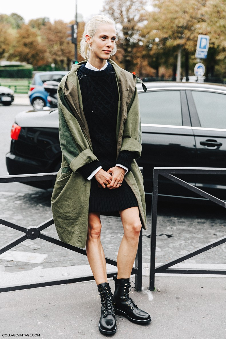 PFW-Paris_Fashion_Week-Spring_Summer_2016-Street_Style-Say_Cheese-Model-Knit_Dress-Trench_Coat-1-790x1185