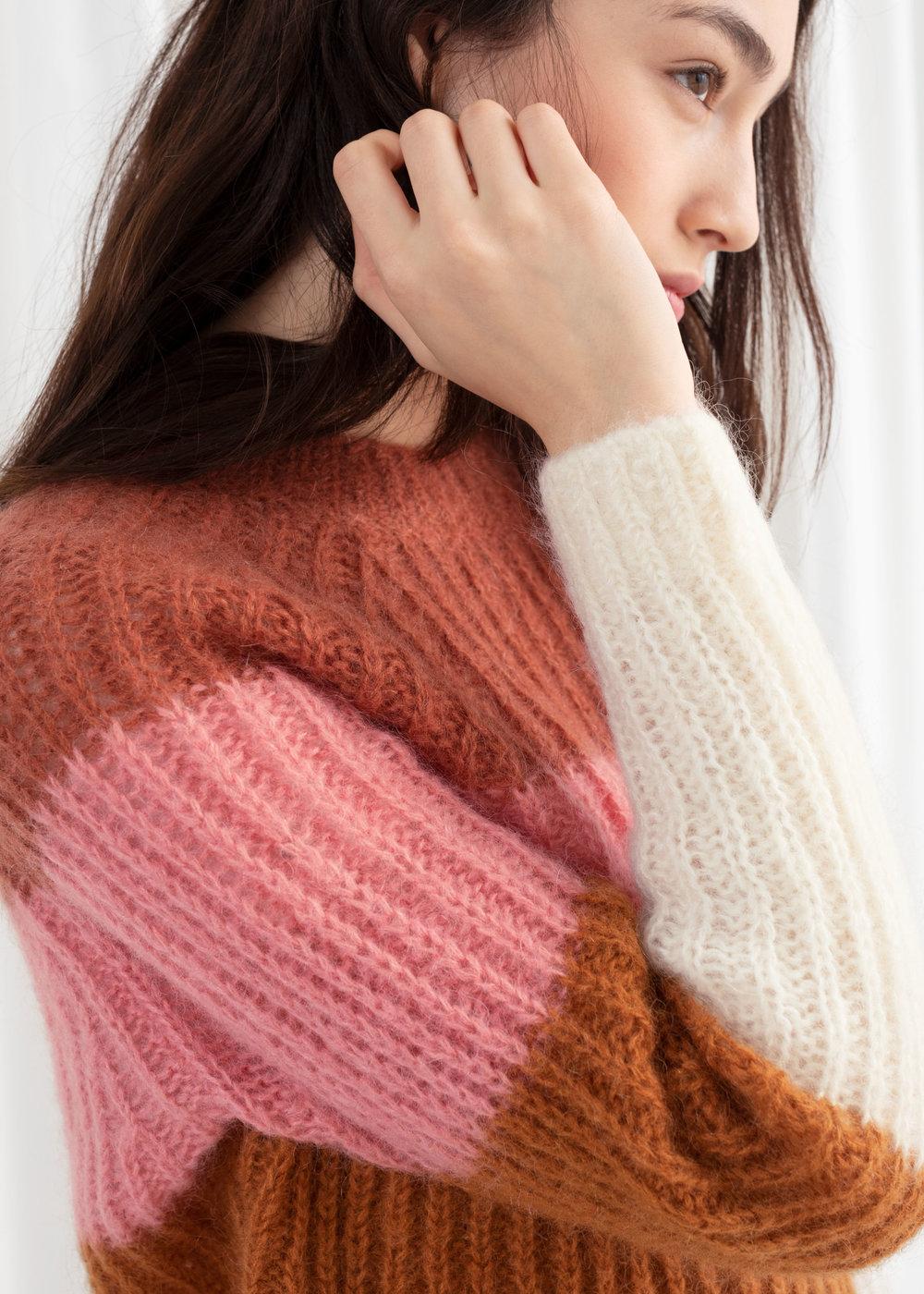 pastel striped wool blend sweater