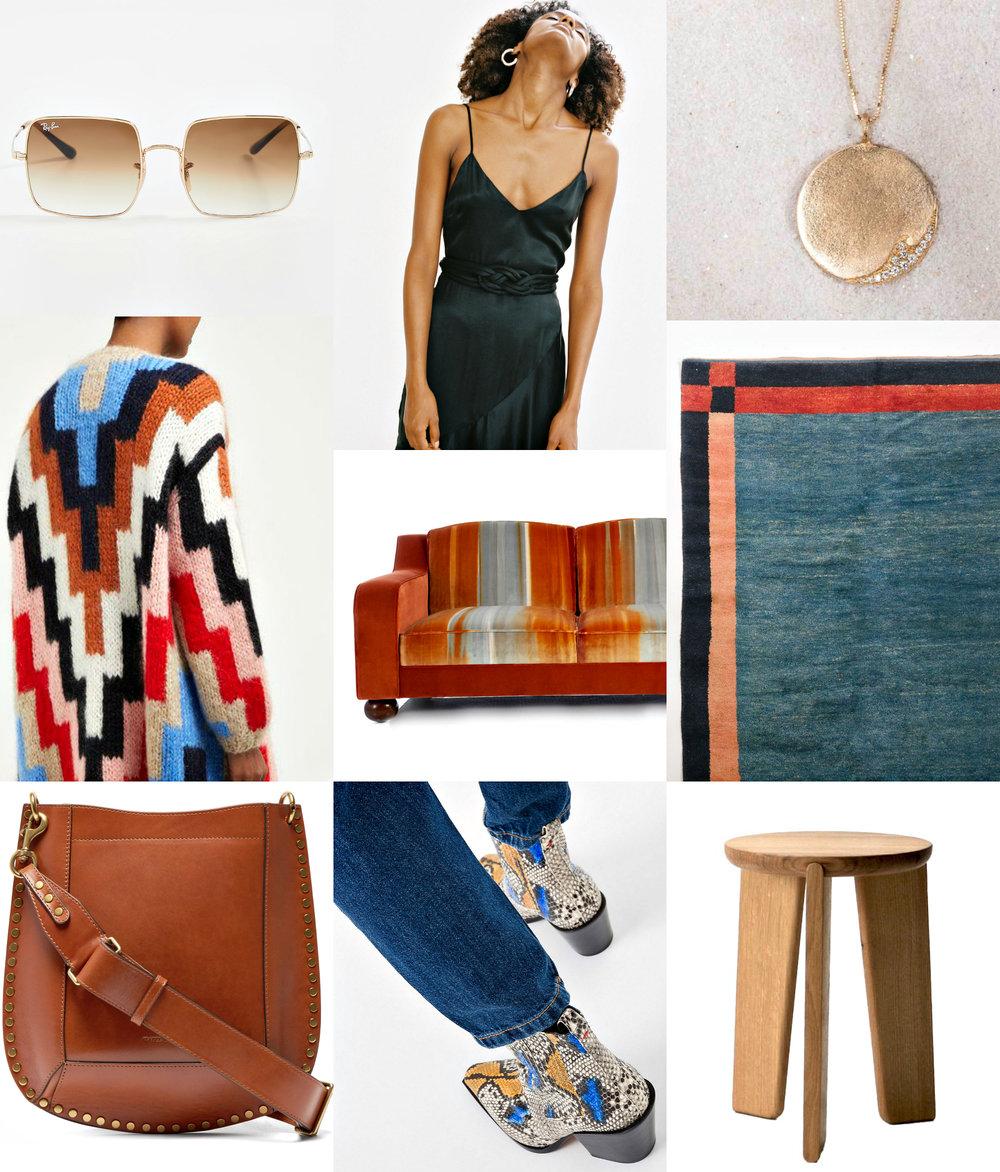 square sunglasses ,  nina dress ,  diamond wave necklace ,  mohair cardigan ,  orange ombre sofa ,  persian rug ,  studded cross-body ,  boots ,  white oak stool