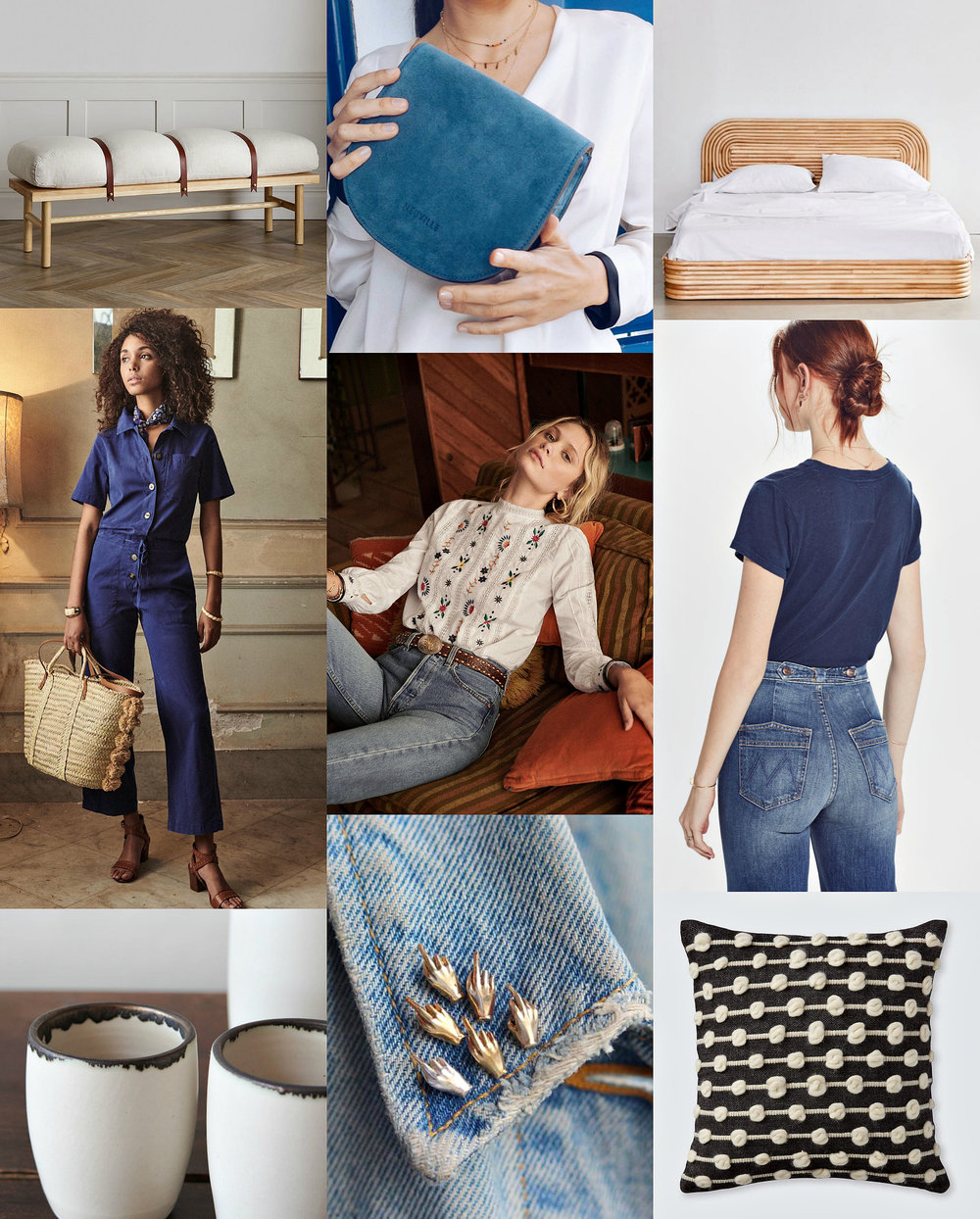 safari bench ,  sky-blue bag ,  rattan bed ,  jumpsuit ,  blouse ,  jeans ,  cups ,  little bird pin ,  pillow