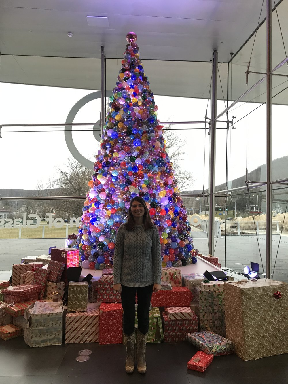 Annual winter break tradition to get a photo with this glass tree at Corning Museum of Glass in Corning, NY.