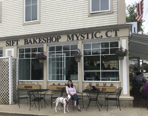 In front of Sift Bake Shop with my pup.