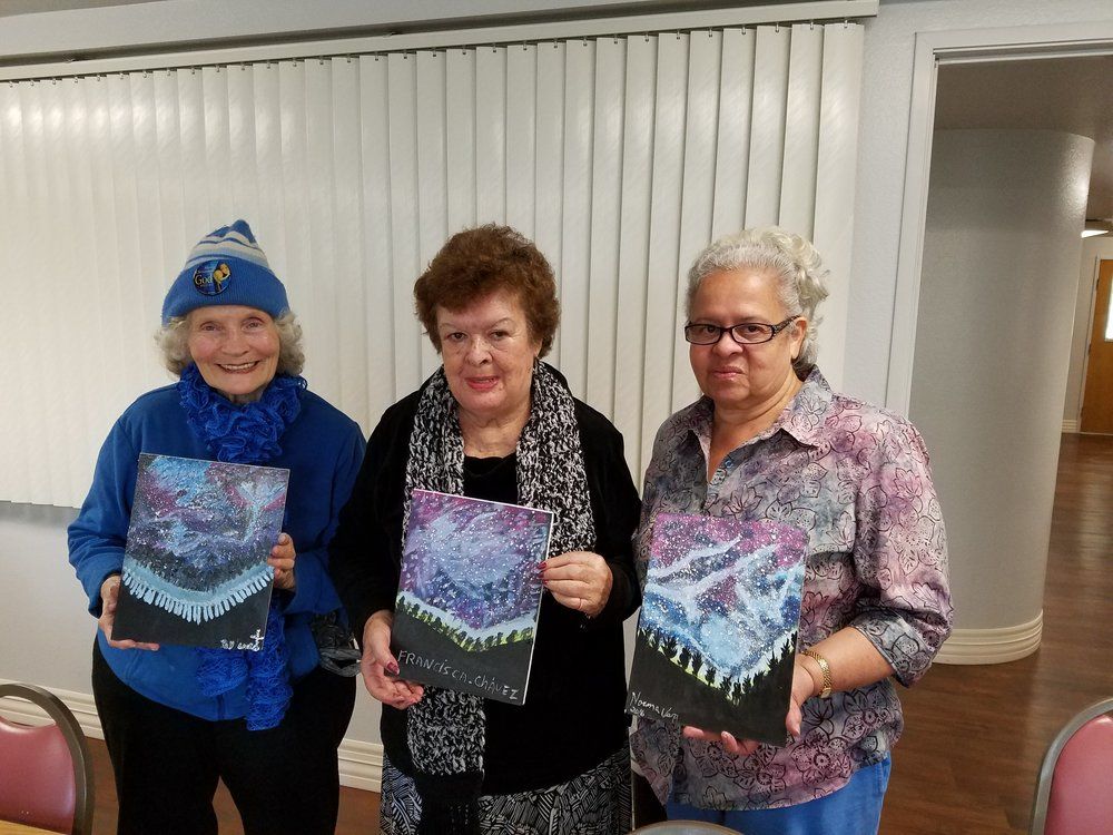 Creative Arts            for Seniors - These ladies attended a Creative Arts class I taught at the Brea Senior Center. A new project was taught each week.