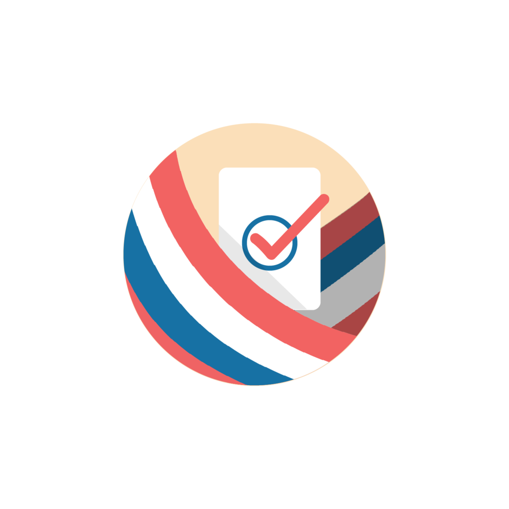 FINAL ICON - This was the icon selected by the client. Because we were on a tight schedule, as a team, we thought it'd be best if we focused our efforts on designing all the individual screens for the app in order to launch the app as soon as possible before the next election.