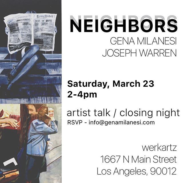 Please join us this Saturday for an artist talk with Gena Milanesi and Joseph Warren from 2-4pm! @gmilanesi @joseph_warren_art_