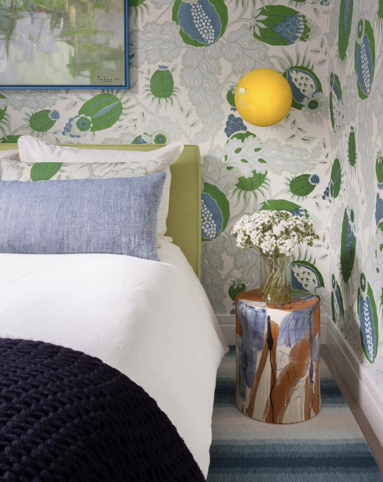 Design by Lucy Harris, featuring Christopher Farr wallcovering