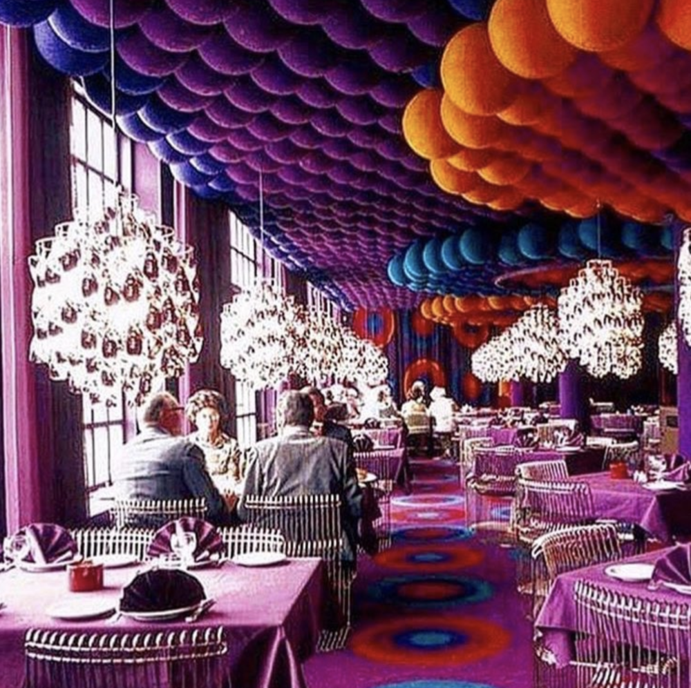 A restaurant in Denmark designed by Vernon Panton.
