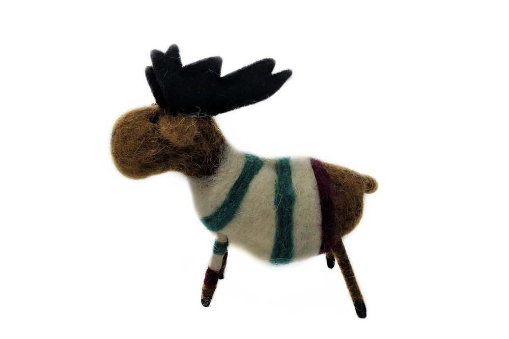 A felted reindeer from Cynthia Ferguson Designs