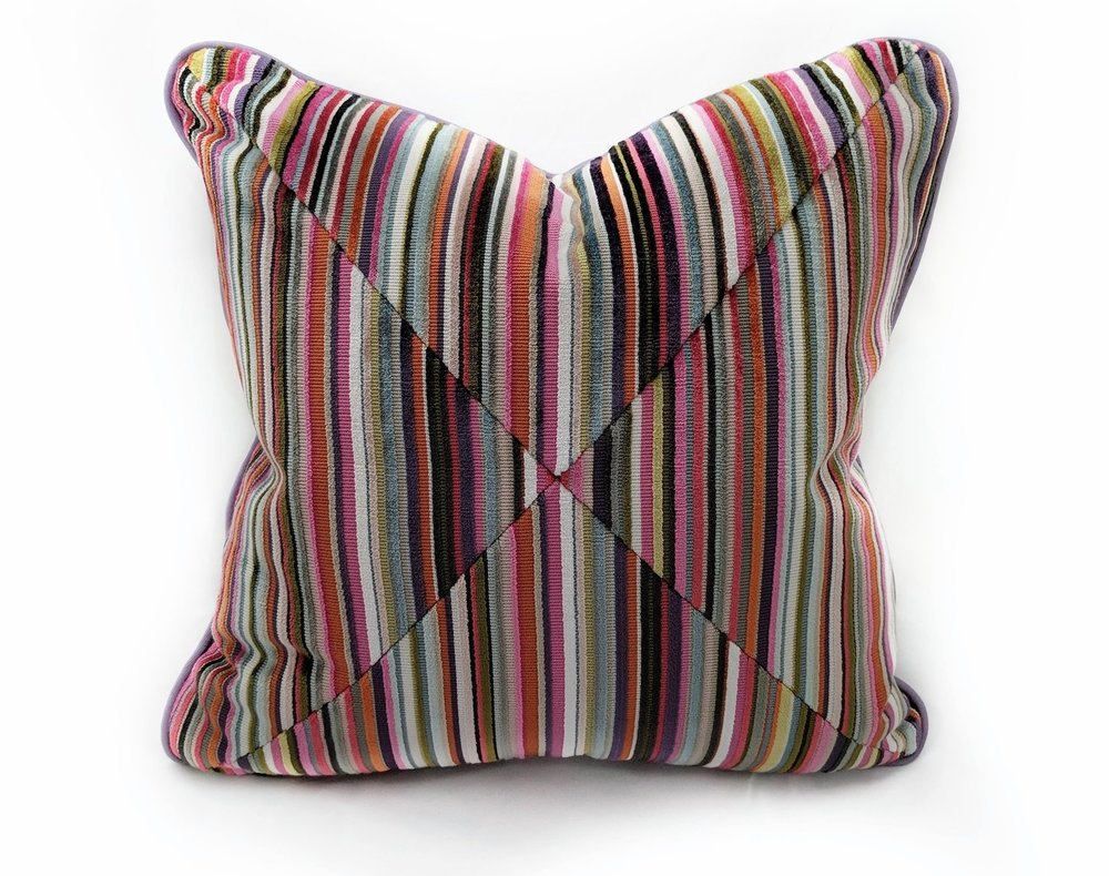 Cut Velvet Striped Pillow from Cynthia Ferguson Designs