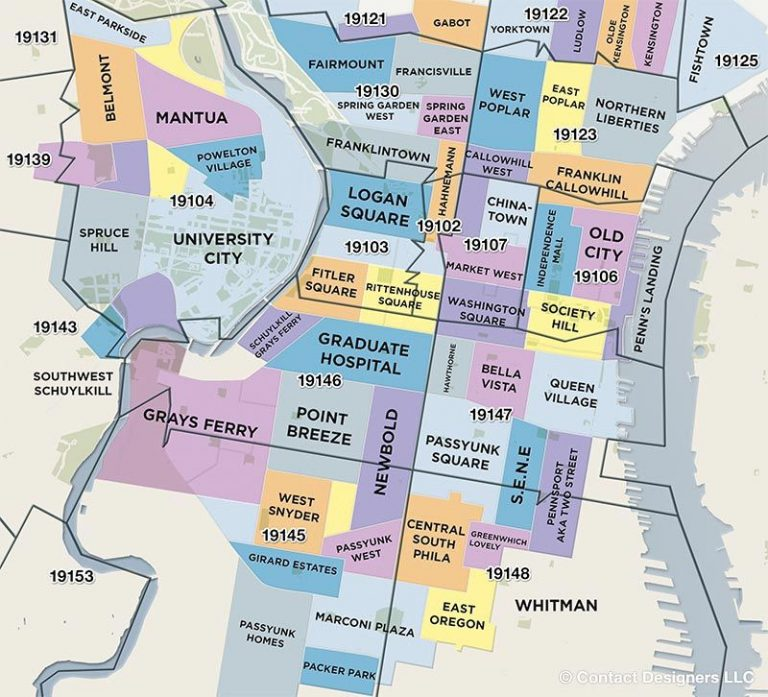 illustrated philadelphia map of local neighborhoods.