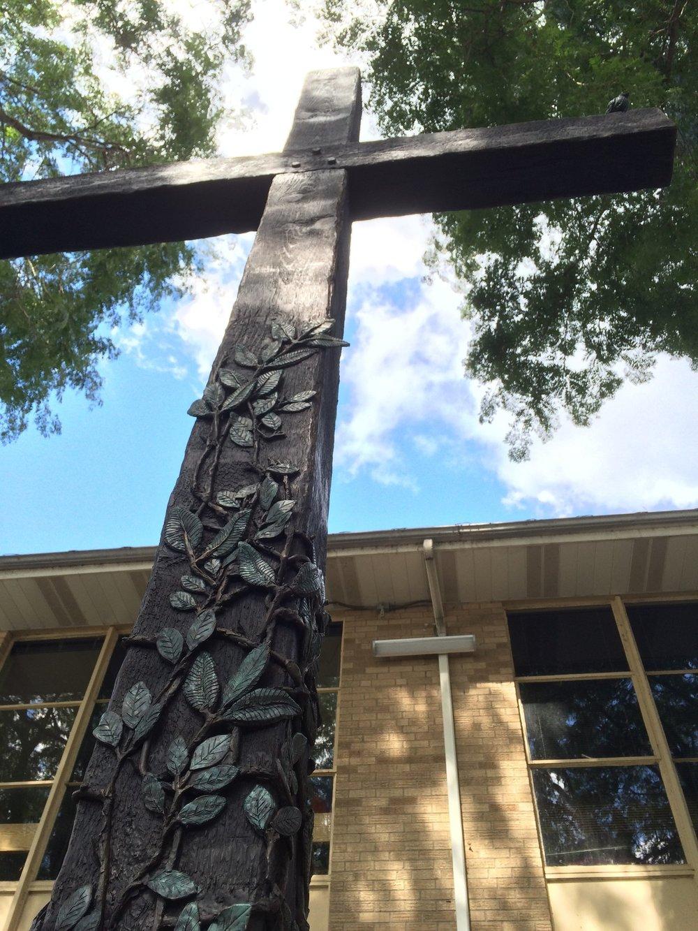 """The Living Cross"" a 13 foot bronze cross is located at Cascade Christian Church, 2829 Thornapple River Dr Cascade, SE, Grand Rapids."