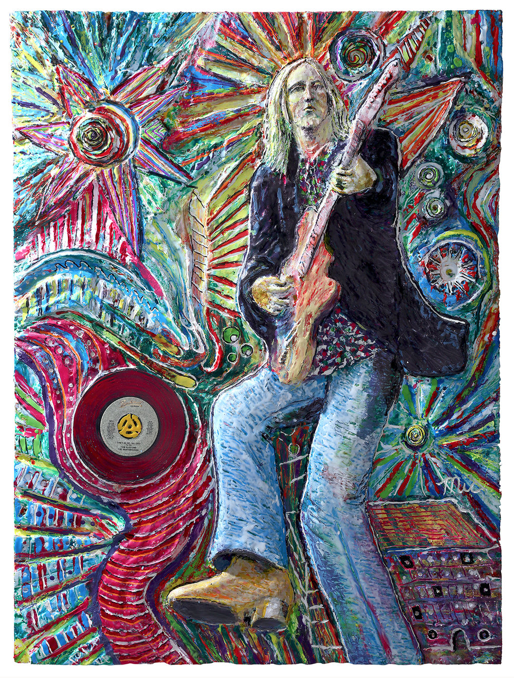 """Tom Petty - Original 35"""" x 44"""" mix media $10,000 FramedReplicas hand made by Mic $2,500 To purchase please Call or email Mic#1 of 10 Private collection of HopCat Downtown Grand Rapids."""