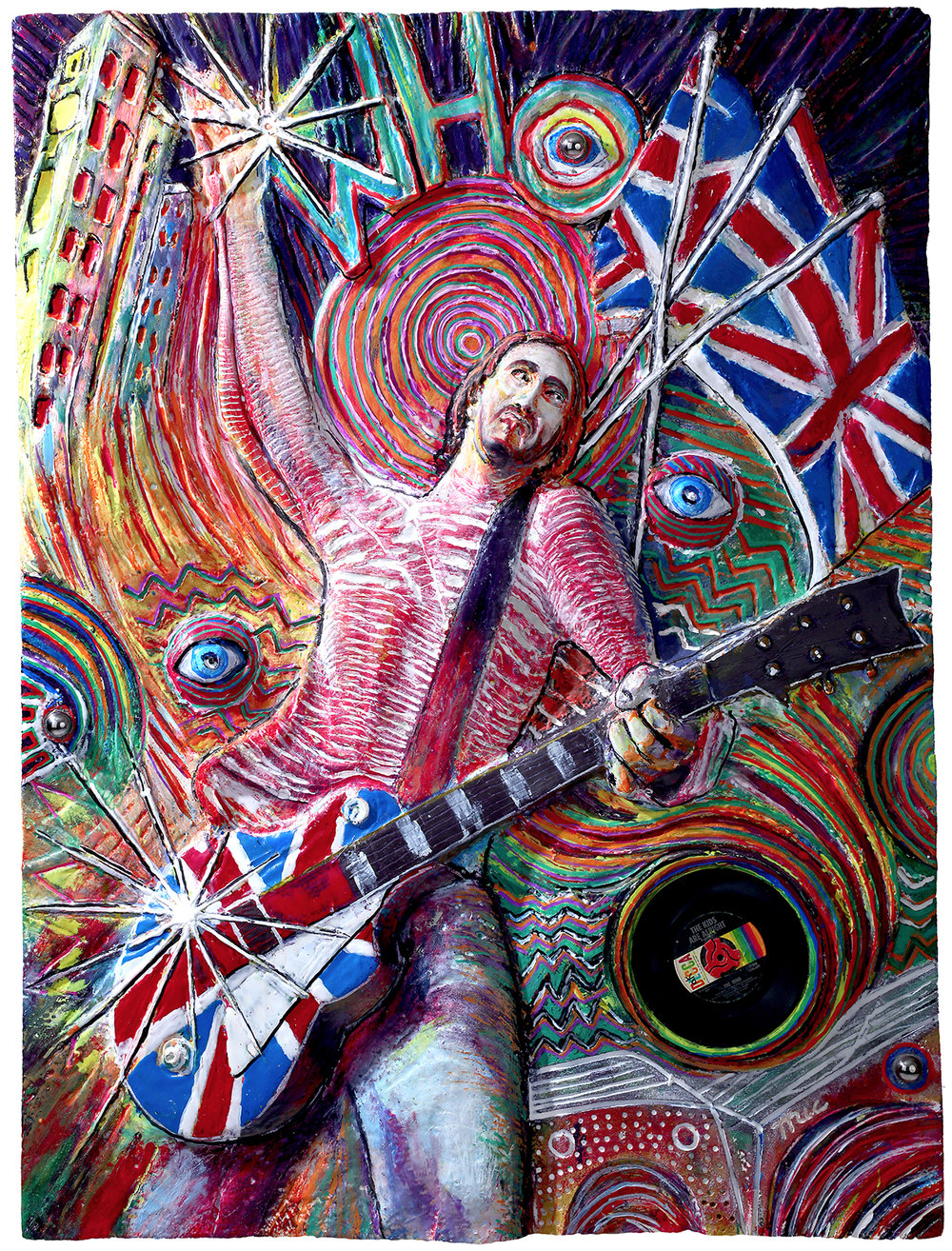 """Pete Townshend - Original 48"""" x 50"""" mix media $10,000 FramedReplicas hand made by Mic $2,500 To purchase please Call or email Mic#1 of 10 Private collection of HopCat Downtown Grand Rapids."""