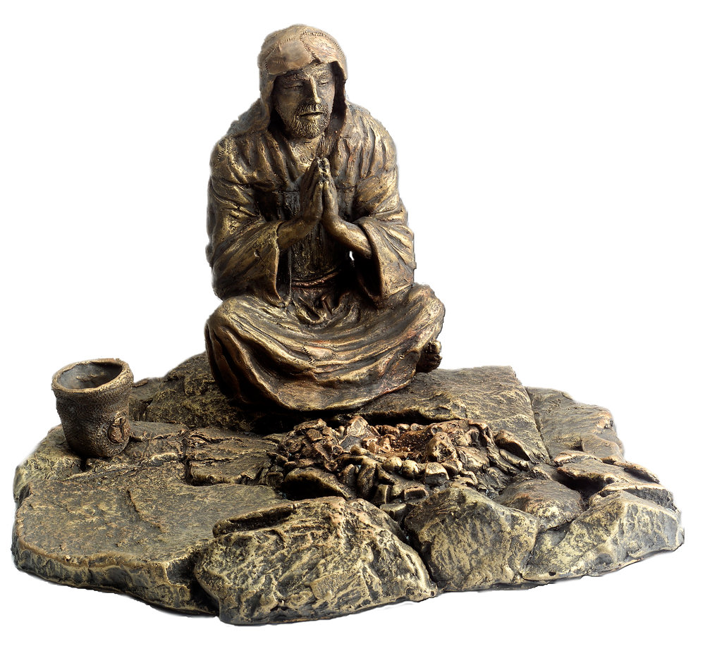 Francis and Brother Fire - Cold Cast bronze $1,200.   Cold Cast Bronze stone $800Replicas hand made by Mic. To purchase please Call or email Mic