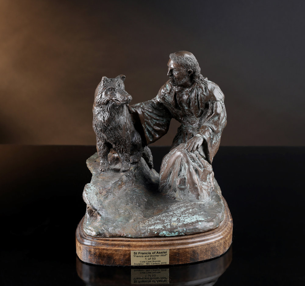 Francis and Brother Wolf - Cold Cast bronze $2,500.   Cold Cast Bronze stone $1,200Replicas hand made by Mic. To purchase please Call or email Mic