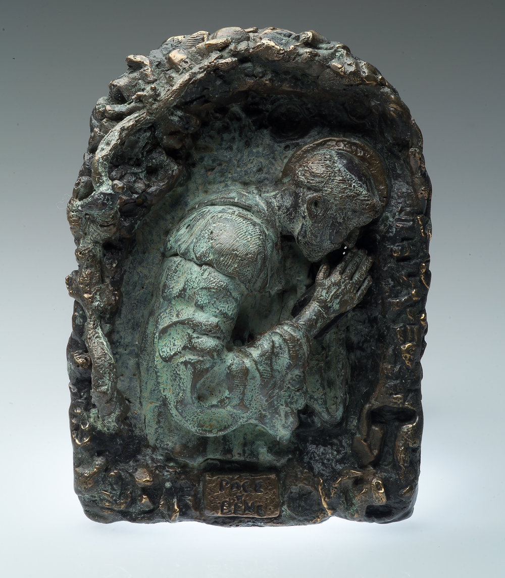 """Prayer in the Caves of Saint Francis - Origain 8"""" x 10"""" Bronze $5,000 To purchase please Call or email Mic"""