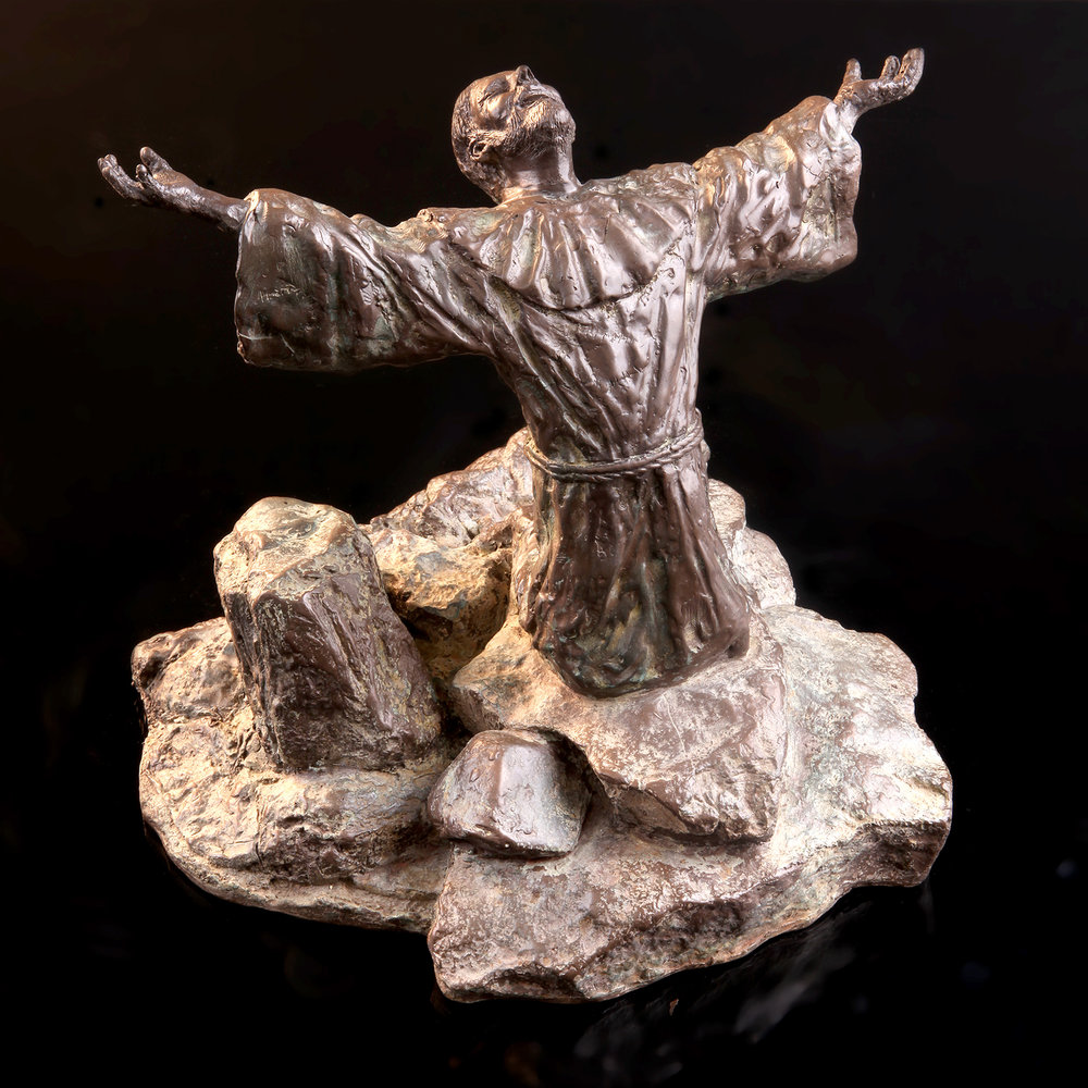 """""""Palanca"""" Saint Francis receiving the stigmata - Cold Cast bronze $1,200.  Cold Cast Bronze stone $800Replicas hand made by Mic. To purchase please Call or email Mic"""