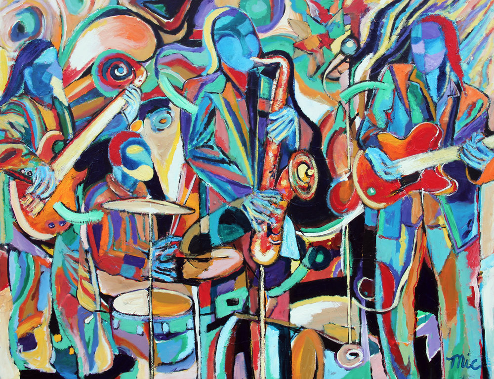 """Abstract Blue Jazz - Acrylic on Canvas 48"""" x 60"""" $4000Giclee Limited Edition and canvas prints are available. Please visit the prints gallery."""