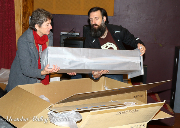 Jaqui Stacey and Ian Howard unpack the new sound system for the performing arts cenre