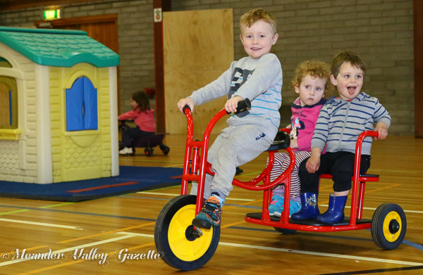 Westbury play gym rider Loui Moran 4yrs passengers centre Alice Moran Connor Jensen both aged 2