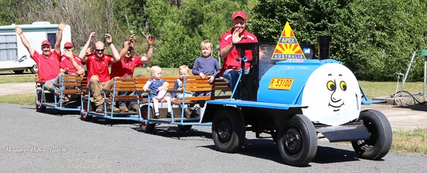 Apex President and train driver Danny Saltmarsh  with his 3 children and apex members