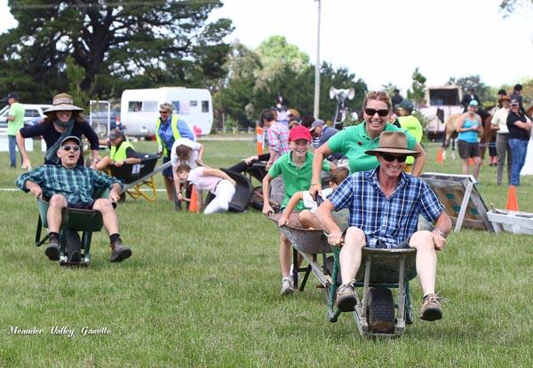 Seona and David Findlay of Hagley take out the inaugural wheel barrow race Westbury Show