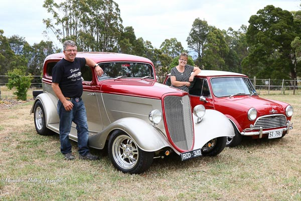 Wayne and Vicki Bellinger with 1934 Ford Tudor 350 chev engine 1968 Mini Cooper S