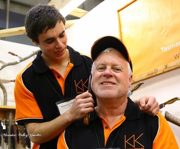 craft-fair-myles-kirkman-shaves-steve-kirkman-his-dad-of-deloraine