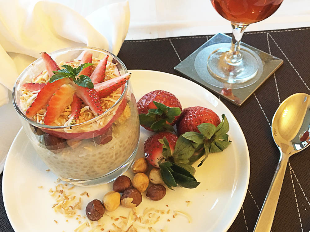 Lavender & Coconut Sago Pudding with Strawberries & Hazelnuts