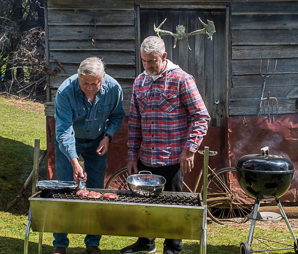 Michal Frydrych (L) cooks venison with world famous chef Alex Atala. Photo by: Chris Crerar