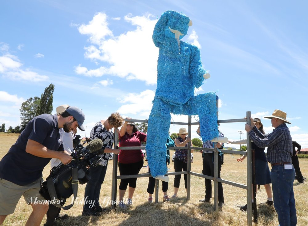 A dozen people plus the media gathered in a paddock outside Ashley Youth Detention Centre for the assembly of the Blue Farmer.   Photo | Mike Moores