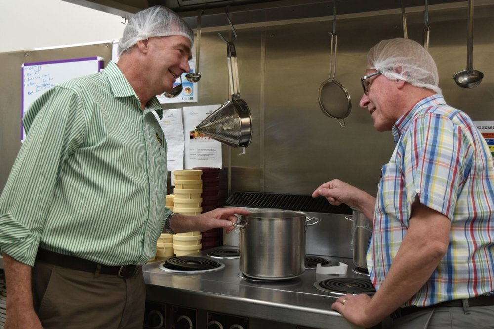 Nationals Senator Steve Martin (L) discusses with Aged Care Deloraine's CEO, Charlie Emmerton upgrades to the facilities in the kitchen at Grenoch.   Photo | Emma Hodgkinson