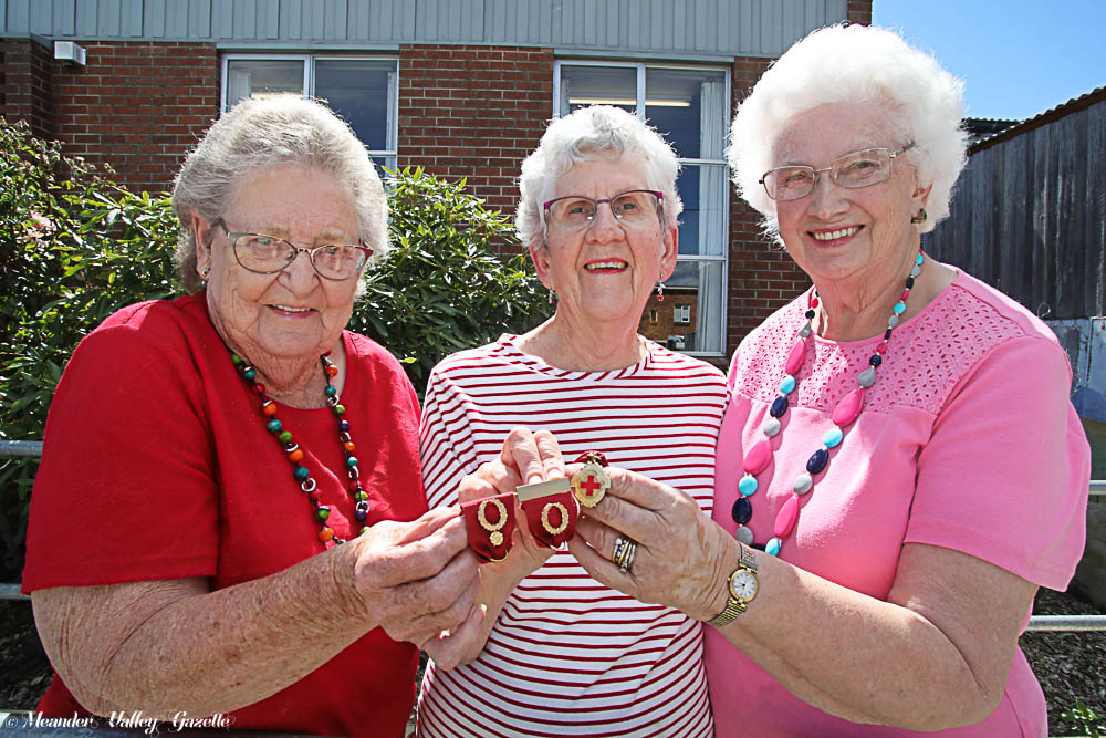 L to R: Joan Pedley, Marilyn Day and Lexie Young of Deloraine Red Cross.   Photo | Mike Moores