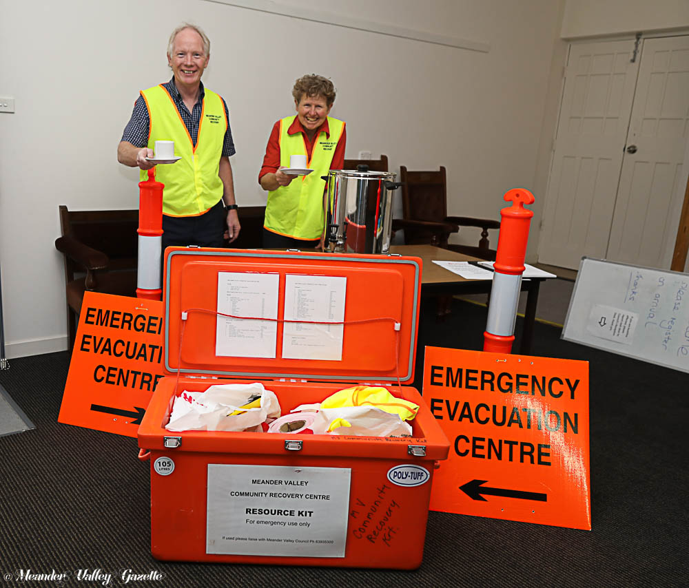 Patrick Gambles and Vicki Jordan, ready to offer assistance to those in need at Meander Valley's Evacuation Centre in Westbury   Photo | Mike Moores