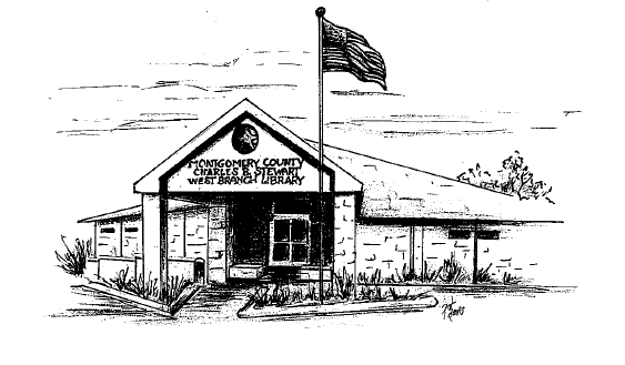 Drawing of the Charles B. Stewart Branch Library by Pat Davis