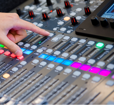 PRODUCTION - Our team provides technical support in the areas of sound engineering, running presentation software (ProPresenter), and lighting.