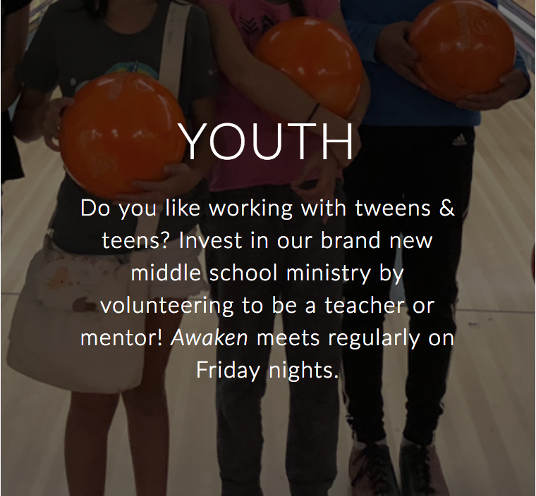 Do you like working with tweens & teens? Invest in our brand new youth group by volunteering to be a teacher or mentor!