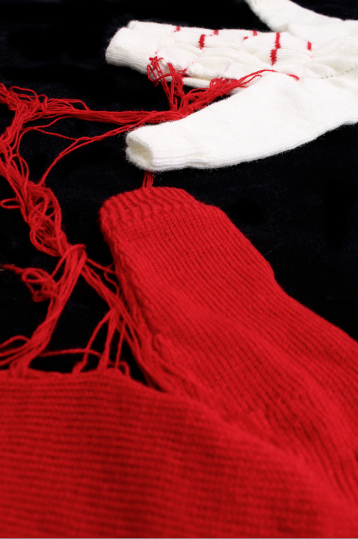 Leech (detail), second-hand yarns of unknown materials, 2014
